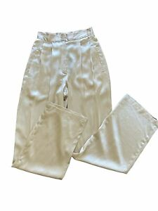 Reformation Chandler Silk High Waist Trousers Womens SZ 0 Relaxed Fit Ivory NWT