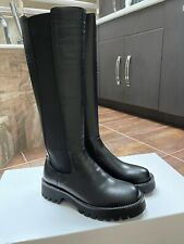 LLS Willow Trendy Knee High Chelsea Leather Boots Black EU39 US8
