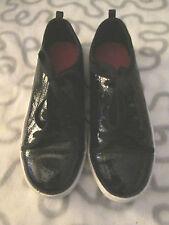H M & - patant noir cuir plat lacez vers le haut de chaussures taille 36 uk 4.1/2 nous