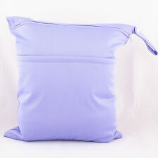 1 Purple Wet Dry Bag Baby Cloth Diaper Nappy Bag Reusable Two Zippered Pockets