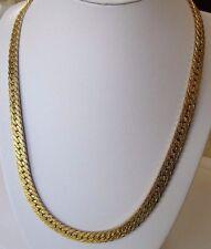 Superbe collier chaîne rétro large maille plate bijou vintage couleur or 320