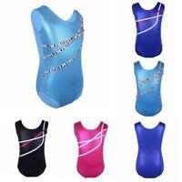 Girls Kids Gymnastics Sparkle Leotard Ballet Dancewear Athletic Training Costume