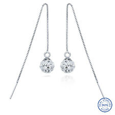 925 Sterling Silver earrings CZ Cubic Zirconium clear crystal DLE90