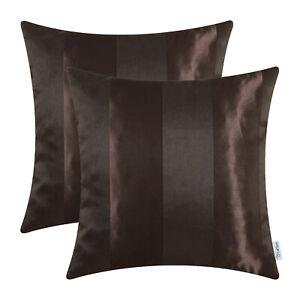 "2Pcs Coffee Throw Pillow Shells Cushion Covers Stripes Geometric Jacquard 20x20"""