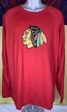 Men's Adidas ClimaLite NHL Chicago Blackhawks Long Sleeve Shirt Size Large Red