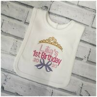 Embroidered Crown Design Unisex Baby Clothes Personalised 1st Birthday Bib