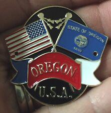 Oregon OR Flag / US Flag State Hiking Staff Stick Medallion NEW