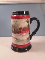 Budweiser Clydesdales 1990 Christmas Holiday Stein Mug by Ceramarte