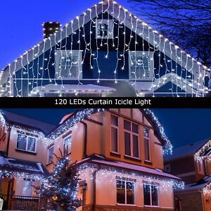 13FT Curtain Icicle Lights Wedding Party LED Fairy Christmas Indoor Outdoor Lamp