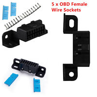 5X16Pin Female Connector Cable OBDII OBD2 Car SUV Auto Adapter Plug J1962 Shell