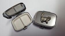 Tabby Persian Cat PP-C01 English Pewter Emblem on a Rectangular Metal Pill Box
