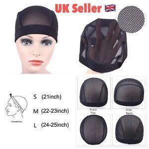 Black full lace wig cap Net Mesh elastic for weave making hair UK SELLER