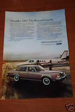 ★★1980 LINCOLN VERSAILLES ORIGINAL VINTAGE ADVERTISEMENT AD 80 79 78 77 INFO★★