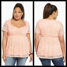 NWT Torrid Women's Plus Size 3 3X Peach Lace Cinch Front Babydoll Top (EEE20)