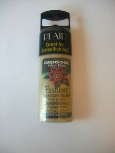 Plaid Dimensional Fabric Paint- 32.5ml Great for Embellishing Gold Glitter   NEW