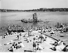 Photo. 1930s. Seattle, WA.  Beach Goers At Green Lake - Diving Raft