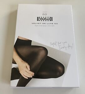 Brand New Wolford Velvet De Luxe 50 Tights Sz XL Black $49 Value