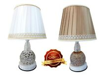Uniware Fashion Shade Led Table Lamp for Bedroom/Living Room,White/Brown