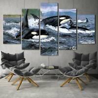 Orca Swimming in Ocean Seascape 5 pcs HD Art Poster Wall Home Decor Canvas Print