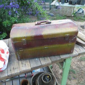 vintage aluminium fishing tackle box 50/23/27 cm
