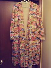 LulaRoe Med beige Sarah coat w/ rainbow colored design