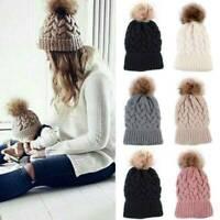 2020 Fur Pom Pom Ball Knit Crochet Baggy Bobble Hat Beanie Mens Ski Cap Winter