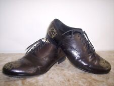 Rare ALEXANDER HOTTO Gold Line Logo Black Leather Shoes 41 Italy