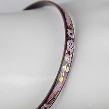 Vintage Emaille Armreif ∅ 6,2 Blumen Schmuck 70er schwarz, gold, rosa Armring 9