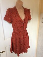 Urban Outfitters Pins & Needles Orange Floral Vintage Style Tea Dress XS 6 8