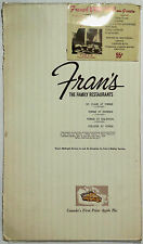 1967 Vintage Menu FRAN'S FAMILY RESTAURANT Toronto Canada Famous Apple Pie