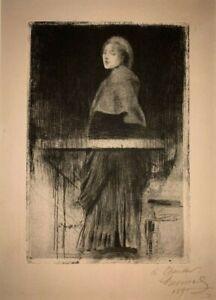 "Albert Besnard ""La Femme a la Pelerine"" 1890 etching with drypoint hand signed"