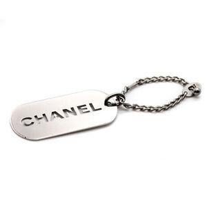 CHANEL Keychain Charm Dog Tag Logo Plate Silver v797650014HA