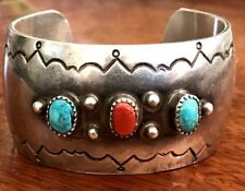 """Vintage Sterling Silver Navajo Turquoise Coral Cuff Bracelet """"signed C.R.M."""""""