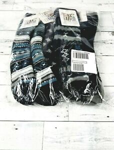 NEW MUK LUKS Cozy-Lined Socks Set of Four-Navy- OSFM