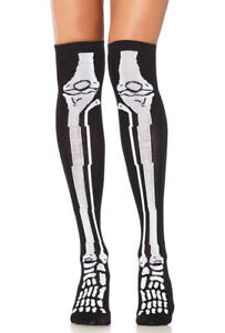 Black Acrylic skeleton over the knee socks