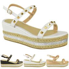 New Womens Espadrilles Flatform Studded Sandals Low Heel Wedges Platform Size