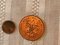 Vintage BRASS BOY SCOUT SCOUTS OF AMERICA ON MY HONOR GOOD TURN COIN TOKEN