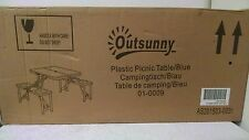 Outsunny 01-0009 4-Seat Outdoor Portable Folding Picnic Camp Table - blue