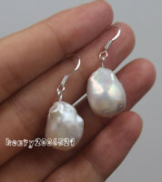 13x16 mm South Sea White Baroque Pearl Earrings 925 Silver earrings for girls