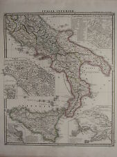 1850 SPRUNER ANTIQUE HISTORICAL MAP ~ ITALY SOUTH SICILY SYRACUSE CAMPANIA