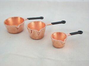 Copper Pot Set kitchen dollhouse miniatures 3pc IM65060   1/12 scale metal