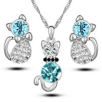 Women Prom Crystal Rhinestone Pendant Necklace Earrings Lovely Cat Jewelry Set