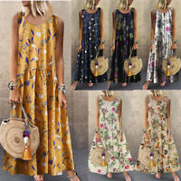 Women Lagenlook Quirk Bohemian Print Floral Vintage Sleeveless Maxi Long Dress 9