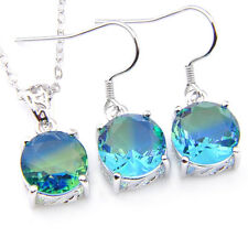 London Blue 2 pcs Watermelon Bi Colored Tourmaline Gems Silver Pendant Earrings