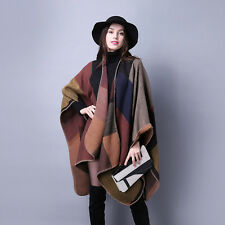 "Women's Brown Cashmere Scarf Plaid Patchwork Poncho Cape Blanket Cloak 61""*51"""