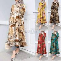 ZANZEA Women Long Sleeve Floral Oversize Dresses Elegant Ruffles Long Maxi Dress