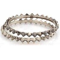House of Harlow 1960 Spike Stack Pave Bangle Set in Silver