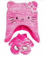 New Hello Kitty Girls' or Little Girls' Beanie Cap Laplander Hat & Gloves Set