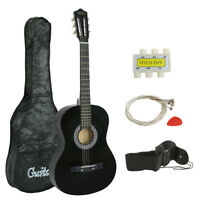 "38"" Black Student Acoustic Guitar Starter Package,Gig Bag,Strap,Pitch Pipe,Pick"