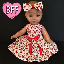 "17"" Dolls Clothes fits Luvabella  fits Baby Born Dolls. Strawberry Fayre Dress."